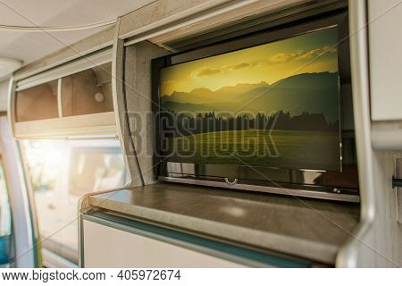 Recreational Vehicle Feature. Modern Flat Rv Tv Inside Camper Van Motorhome Displaying Beautiful Alp