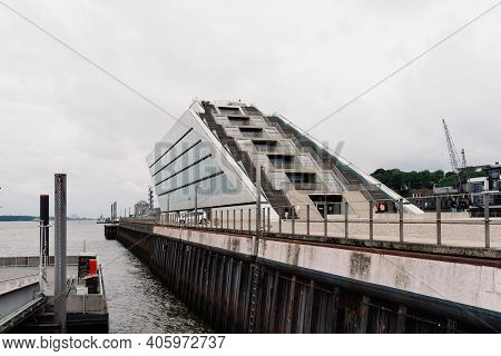 Hamburg, Germany - August 4, 2019: Dockland Office Building, A Modern Office Building In The Harbor