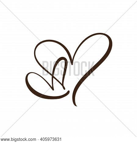 Two Red Flourish Hand Drawn Hearts. Vector Cut Linked Holiday Valentine Card Handmade Love Calligrap