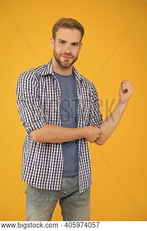 Fashion Begins On Street. Handsome Man Yellow Background. Fashion Look Of Vogue Model. Casual Fashio
