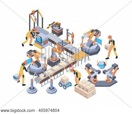 Conveyors Belt. Machinery Packaging Moving Wheel Industry Line Vector Factory Isometric. Conveyor Be