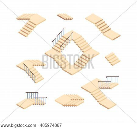 Stairs Isometric. Outdoor Staircase For Houses Constructions Vector Set. Stairway Progress Interior,