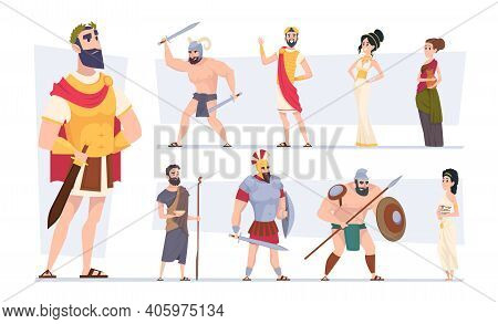 Ancient Rome. Authentic Clothes Of Rome Traditional Citizens Medieval Outfit Coliseum Warriors Exact