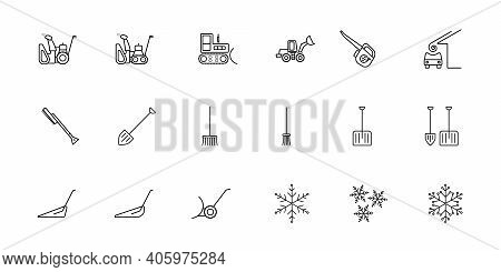 A Set Of Simple Vector Icons On The Theme Of Snow Removal. There Are Such Icons As A Snow Plow, A Bl