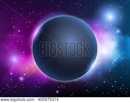 Space Universe Background. Globe Fantasy Magic Night Lighting Planet Vector Abstract Decent Vector P