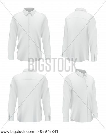 Male Shirt. Business Clothes For Men White Sleeve Long Shirt Decent Vector Realistic Mockup Pictures