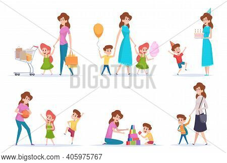 Mother With Kids. Happy Children Spend Time With Love Mommy Exact Vector Parents Characters Cartoon.