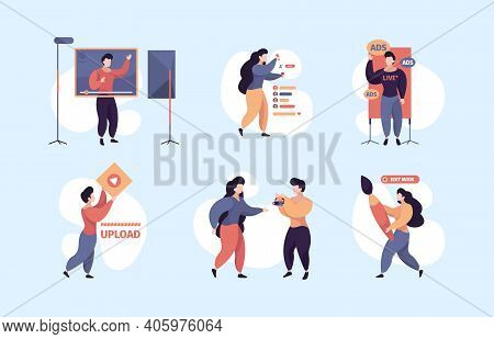 Content Makers. Video Bloggers Writers Characters Making Social Activities Writing Articles Garish V
