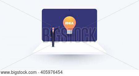New Possibilities, Ideas, Hope, Dreams - Proud  Business Man Standing On A Laptop Computer Showing A