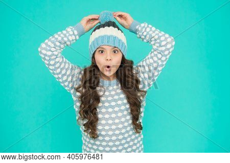 What A Surprise. Kid Winter Fashion Style. Knitted Clothes For Cheerful Child. Teenager In Knitted H