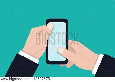Hands Holding A Smartphone. Close-up Of A Blank Mobile Phone Screen In The Hands Of A Person On A Bl