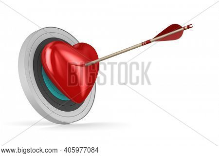 Arrow and heart on white background. Isolated 3D illustration