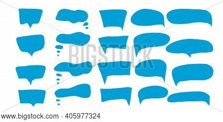 Speech Bubbles Set Isolated On White Background. Collection Of Ballons For Text. Bundle Of Hand Draw