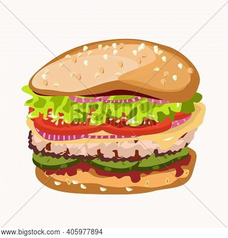 Hamburger With Sesame And Cheese And Tomatoes. Isolated Image On A White Background