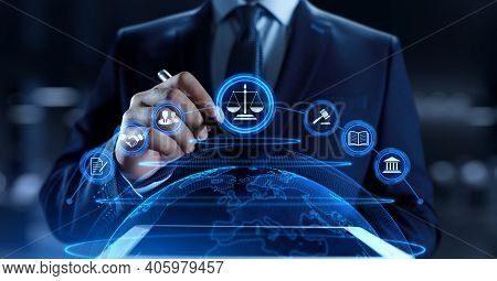 Labor Law. Lawyer Attorney At Law. Online Advocacy Businessman Pressing Button On Screen.