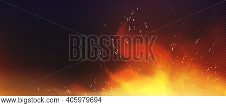 Fire With Sparkles And Smoke Isolated On Transparent Background. Vector Realistic Heat Effect, Blaze