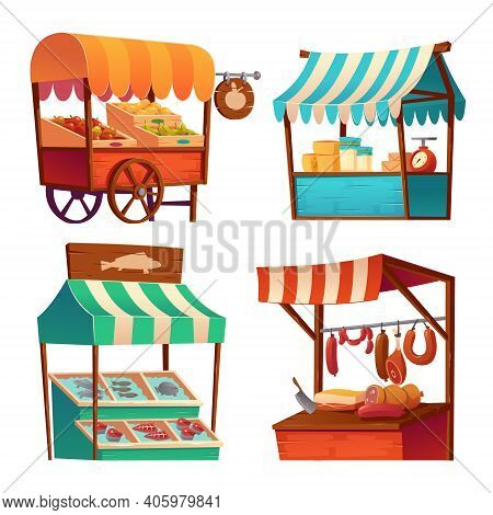 Market Stalls, Fair Booths, Wooden Kiosk With Striped Awning And Food Products. Wood Wheeled Vendor