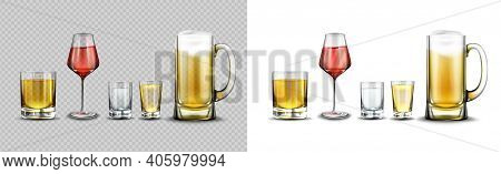 Glasses With Alcohol Drinks, Beer With Foam In Mug, Red Wine, Vodka, Cognac And Whiskey In Shots. Ve