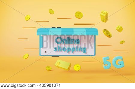 Shopping Online Service Or Store On Website Mobile With 5g Network  Concept In Yellow Composition ,3
