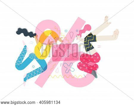 Discounts, Sale, Promotion Voucher - Modern Flat Vector Concept Illustration Of People Dancing With
