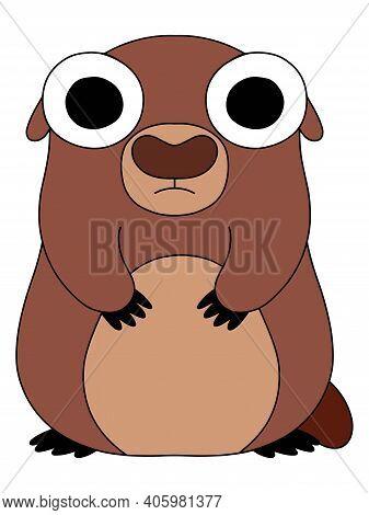 Happy Groundhog Day Animal Stock Vector Illustration. Scared Groundhog Had Seen His Shadow - 6 More