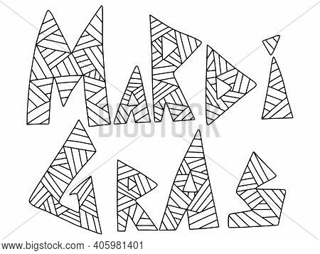 Mardi Gras Ornamental Phrase Stock Vector Illustration. Triangular Hand Drawn Words - Mardi Gras, Bl