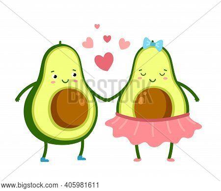Cute Avocado In Love. Green Fruits Couple, Cute Vegetarian Romantic Food. Cartoon Valentines Day Cha