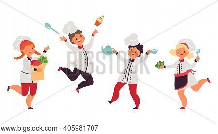 Children Preparing Food. Kid Cook, Little Chefs Bakers With Cake And Cutlery. Happy Isolated Boy Gir
