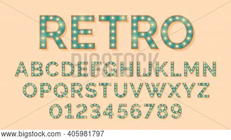 Light Bulb Letters. Retro Text, Lightbulb Alphabet Numbers. Vintage Font Lamps, Typography Glow Type