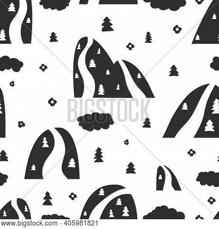 Scandinavian Mountain Pattern. Abstract Doodle Forest, Rocks Trees Background. Nursery Or Kids Fabri