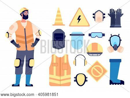 Builder Safety Equipment. Construction Worker, Protection And Work Gear. Man In Vest Glasses Helmet,