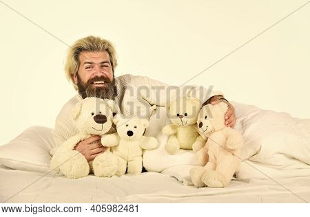Good Vibes. Man Hug Soft Toy Relaxing In Bed. I Am Not Alone. Cute Teddy Bear Toy. Lovely Hipster. I