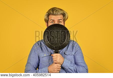 Full Of Duties. Bearded Man Hold Frying Pan. Cooking In Pot. For Preparing Food. Bearded Man Cooking