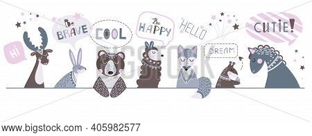 Cute Nursery Banner. Children Animals, Draw Positive Phrases. Childish Characters And Lettering, Fun