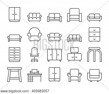 Furniture Icon. Home Interior Line Icons Set. Vector Illustration. Editable Stroke.