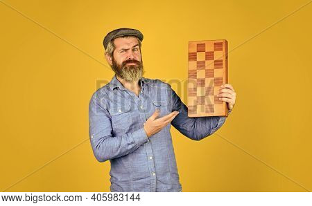 Teacher Chess Competition. Board Game. Bearded Man Playing Chess. Chess Figures. Intellectual Games.