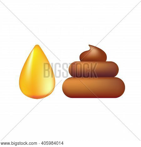 Cute Orange Urine Pee Drop And Poop Icons Isolated On White Background. Pile Of Poo And Urine Sticke