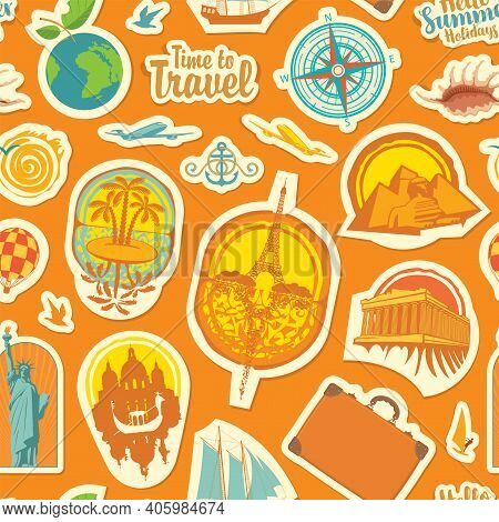 Seamless Pattern On The Theme Of Travel And Vacations. Repeating Vector Background With Stickers Or