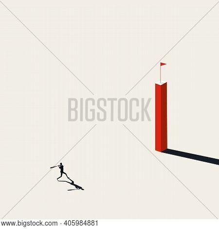 Business Goal Vector Concept. Businessman With Baseball Bat. Symbol Of Achievement, Success, Reachin