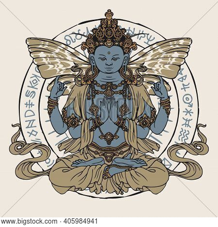 Banner With Hand-drawn Buddha Meditating In A Lotus Pose. Vector Illustration Of Four-armed Buddha W