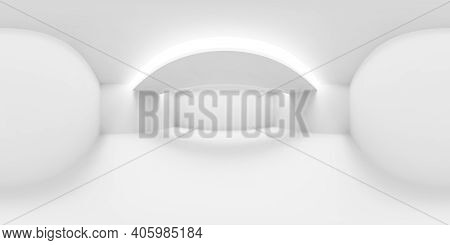 White Abstract Empty Room With White Walls, Floor And Ceiling And With Lights In Ceiling Hdri Enviro