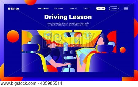 Driver And Passenger Navigating On Road Within Map And Mobile App. Back View Of People Inside Car In