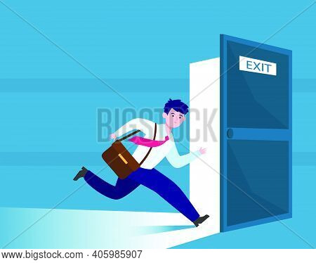 Businessman Running To Escape Exit. Emergency Exit Open Door, Evacuation Way From Office Building. F