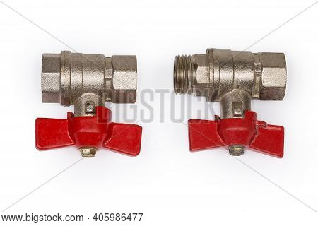 Two Ball Valves With Brass Bodies, Red Butterfly Handles And Various Design Of The Threaded Connecti