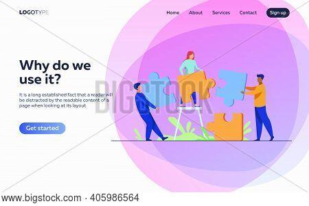 Partners Holding Big Jigsaw Puzzle Pieces Flat Vector Illustration. Successful Partnership, Communic