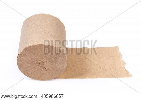 Roll Of A Single Layer Toilet Paper Made With Undyed Unbleached Crepe Paper On A White Background