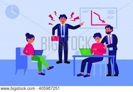 Furious Team Leader Scolding Employees For Decrease Chart. Angry Boss, Loss, Stress At Work Flat Vec