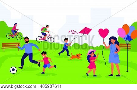 Leisure Time Outdoors And Togetherness Concept. Mothers, Fathers And Kids Enjoying Outdoor Activitie