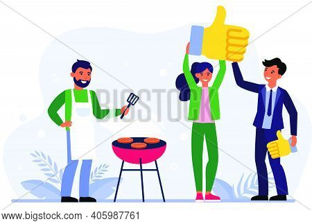 Man And Woman Liking Barbeque Restaurant. Chef Grilling Meat And People Showing Like Sign Flat Vecto