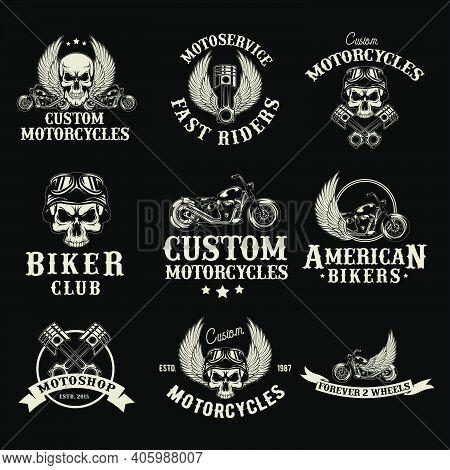 Motor Bike Shop Logo Set. Biker Club Emblems, Moto Service Garage Badges And Stamps. Vector Illustra